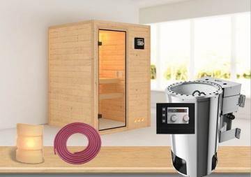 Sauna-Spar-Set: Karibu Scandic Sauna 38 mm Massiv Vaasa 1 inkl. 3,6 KW Bio-Ofen ext. Strg. und Zubehör - Selbstbausatz