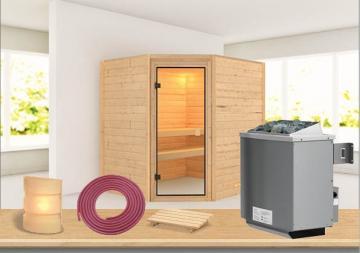 Sauna-Spar-Set: Karibu Scandic Sauna38 mm Massiv Vaasa 2 inkl. 9 KW Ofen int. Strg. und Zubehör - Selbstbausatz
