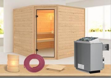 Sauna-Spar-Set: Karibu Scandic Sauna 38 mm Massiv Vaasa 3 inkl. 9 KW Ofen int. Strg. und Zubehör - Selbstbausatz