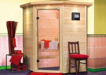 Karibu Massiv Sauna 230 Volt Alicja (Eckeinstieg) 38 mm mit Dachkranz