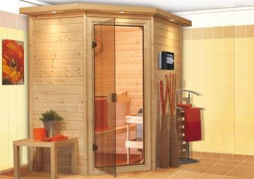 Karibu Massiv Sauna 230 Volt Cilja (Eckeinstieg) 38 mm mit Dachkranz