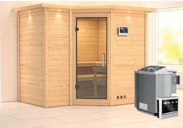 Karibu Heimsauna Sahib 2 (Eckeinstieg) Ofen 9 kW Bio externe Strg easy mit Dachkranz 40 mm Massivholzsauna
