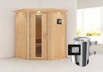 Karibu Heimsauna Nanja ( Eckeinstieg) Ofen 3,6 kW externe Strg.modern mit Dachkranz Plug & Play 230Volt Sauna
