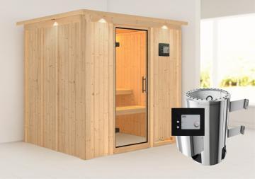 Karibu Heimsauna Daria (Fronteinstieg)   Ofen 3,6 kW externe Strg.modern mit Dachkranz Plug & Play 230Volt Sauna