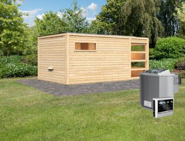 Karibu 38 mm Saunahaus Gartensauna Lille Ofen inkl Steuergerät easy Bio und 18 KG Steinen naturbelassen