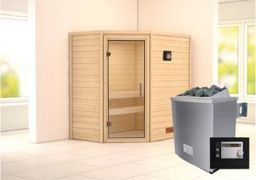 Woodfeeling 38 mm Massivholz Sauna Svea (Eckeinstieg) Ofen 9 KW externe Strg modern Heimsauna