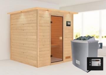 Woodfeeling 38 mm Massivholz Sauna Nora (Fronteinstieg) Ofen 9 KW externe Strg modern Heimsauna