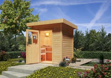 Woodfeeling Massives 38 mm Saunahaus Jana Ofen 9 KW externe Strg modern Gartensauna