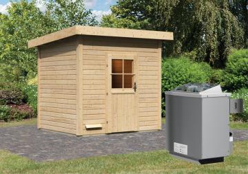 Woodfeeling Massives 38 mm Saunahaus Nella Ofen 9 kW integr. Strg  Gartensauna