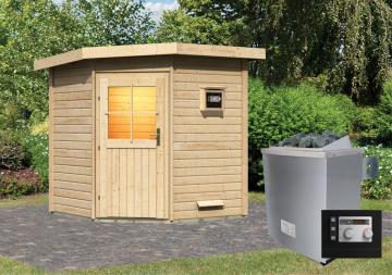 Woodfeeling Massives 38 mm Saunahaus Pirva mit Eckeinstieg Ofen 9 kW Bio externe Strg modern Gartensauna