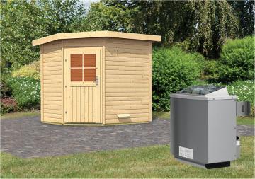 Woodfeeling Massives 38 mm Saunahaus Mayla  mit Eckeinstieg Ofen 9 kW integr. Strg  Gartensauna