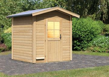 Woodfeeling 38 mm Massivholz Sauna 38 mm Saunahaus Laina ohne Zubehör Gartensauna