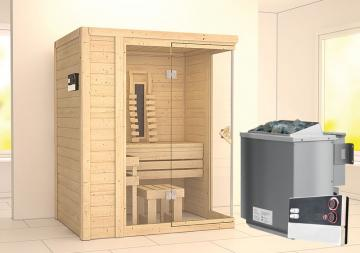 Karibu Massiv Sauna Flurina (Fronteinstieg) 40 mm mit Ofen 9 kW Bio externe multi Str.