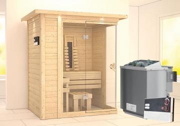 Karibu Massiv Sauna Flurina (Fronteinstieg) 40 mm mit Dachkranz Ofen 9 kW Bio externe multi Str.