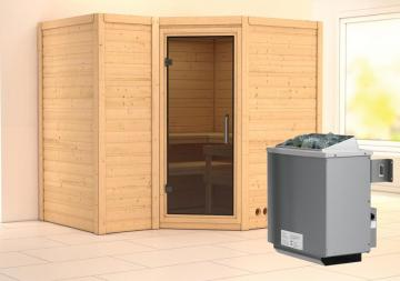Karibu Massiv Sauna Sahib 2 Modern (Eckeinstieg) 40 mm Ofen 9 kW integr. Strg
