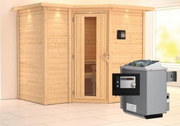 Karibu Massiv Sauna Sahib 2 Energiespartür (Eckeinstieg) 40 mm mit Dachkranz Ofen 9 KW externe Strg modern