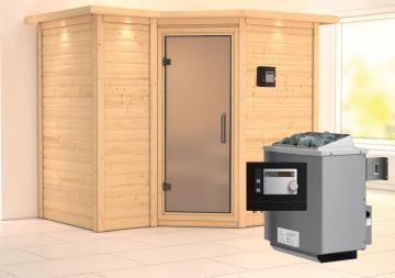 Karibu Massiv Sauna Sahib 2 Satiniert (Eckeinstieg) 40 mm mit Dachkranz Ofen 9 KW externe Strg modern