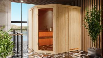 Karibu Systembau Sauna Bodo Classic (Eckeinstieg) 68 mm inkl. Biokombi-Ofen + ext. Strg. und Zubehör