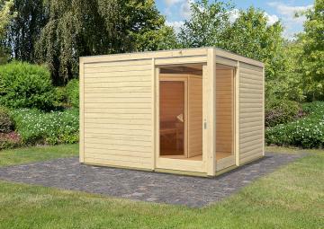 Karibu Gartensauna Cubus Eck 2 inkl Sauna Mia und Boden