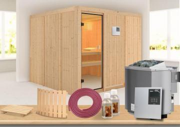 Karibu Systembau Sauna Ornes Classic (Fronteinstieg) 68 mm inkl. Biokombi-Ofen + ext. Strg. und Zubehör