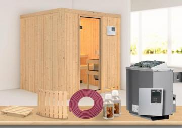 Karibu Systembau Sauna Reipa Classic (Fronteinstieg) 68 mm inkl. Ofen + ext. Strg. und Zubehör