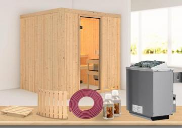 Karibu Systembau Sauna Reipa Classic (Fronteinstieg) 68 mm inkl. Ofen und Zubehör