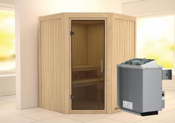 Karibu System Sauna Larin Modern (Eckeinstieg) 68 mm Ofen 9 kW integr. Strg