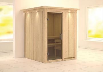 Karibu System Sauna Norin Modern (Fronteinstieg) 68 mm mit Dachkranz ohne Zubehör