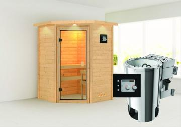 Karibu Massiv Sauna 230 Volt Alicja (Eckeinstieg) 38 mm mit Dachkranz inkl. Ofen 3,6 kW Bio-Kombi ext. Steuerung