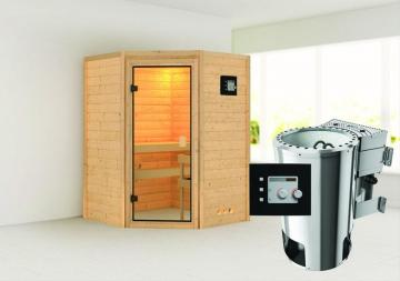 Karibu Massiv Sauna 230 Volt Alicja (Eckeinstieg) 38 mm inkl. Ofen 3,6 kW Bio-Kombi ext. Steuerung