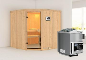 Karibu Heimsauna Simara 1 (Eckeinstieg) Ofen 9 kW Bio externe Strg easy Kein Kranz 68 mm Systemsauna