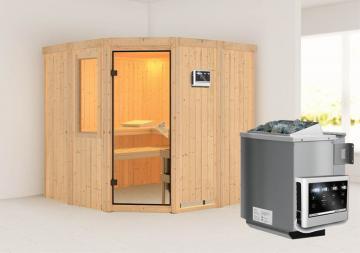 Karibu Heimsauna Simara 1 (Eckeinstieg) Ofen 9 kW Bio externe Strg easy und Fenster Kein Kranz 68 mm Systemsauna