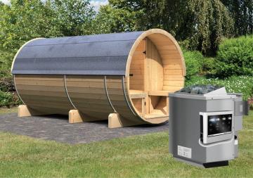 Karibu Fass Sauna 42 mm Fasssauna 4 Ofen 9 kW Bio externe Strg easy  Plug & Play 230Volt Sauna