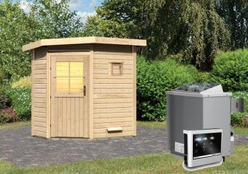 Karibu 38mm Gartensauna Saunahaus Pultdach Jekka - niedriger Energieverbrauch! inkl. 9 kW Ofen ext. Strg. easy