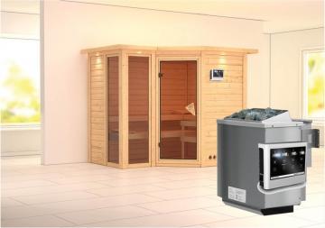 Karibu Heimsauna Amara (Eckeinstieg) Ofen 9 kW Bio externe Strg easy mit Dachkranz 40 mm Massivholzsauna