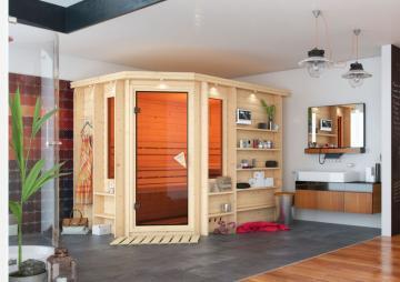 Karibu Heimsauna Riona (Eckeinstieg)  Ofen 9 kW Bio externe Strg easy mit Dachkranz 40 mm Massivholzsauna