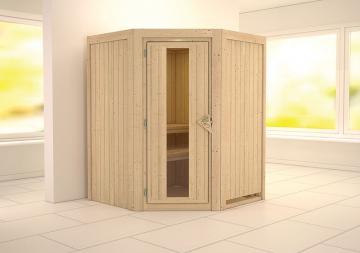 Karibu System Sauna Larin Energiespartür (Eckeinstieg) 68 mm ohne Zubehör