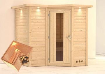 Karibu Massiv Sauna Sahib 1 Energiespartür (Eckeinstieg) 40 mm mit Dachkranz
