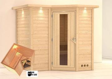 Karibu Massiv Sauna Sahib 1 Energiespartür (Eckeinstieg) 40 mm mit Dachkranz inkl. Ofen 9 kW Bio-Kombi ext. Steuerung