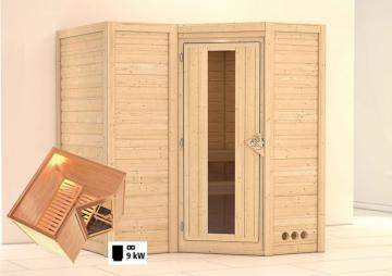 Karibu Massiv Sauna Sahib 1 Classic Energiespartür (Eckeinstieg) 40 mm inkl. Ofen 9 KW ext. Steuerung
