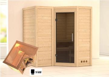 Karibu Massiv Sauna Sahib 1 Modern (Eckeinstieg) 40 mm inkl. Ofen 9 kW mit integr. Steuerung