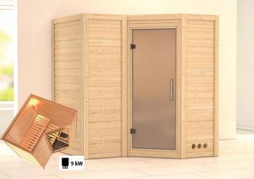 Karibu Massiv Sauna Sahib 1 Satiniert (Eckeinstieg) 40 mm inkl. Ofen 9 kW mit integr. Steuerung