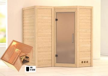 Karibu Massiv Sauna Sahib 1 Satiniert (Eckeinstieg) 40 mm inkl. Ofen 9 KW ext. Steuerung