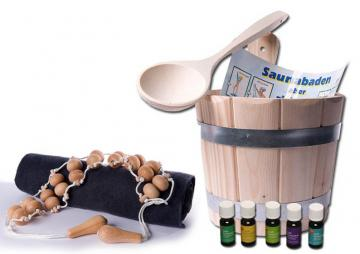 Sauna Starter Set 4 teilig (Kübel, Kelle, Massageband)