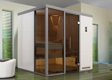 WEKA Heimsauna Wellnissage Designsauna I Fenster rechts Bianco - weiss