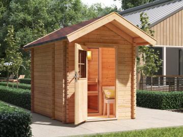 Karibu 38mm Gartensauna Blockbohlenhaus Satteldachhaus Saunahaus 0 ohne Ofen - mit Vorraum- naturbelassen