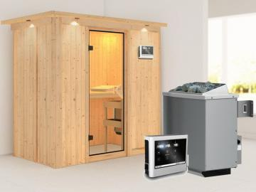 Karibu System Sauna Variado (Fronteinstieg) 68 mm mit Dachkranz inkl. Ofen 9 kW Bio-Kombi ext. Steuerung - mit bronzierter Ganzglastür