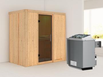 Karibu System Sauna Variado (Fronteinstieg) 68 mm inkl. Ofen 9 kW integr. Steuerung - mit graphitfarbender Ganzglastür