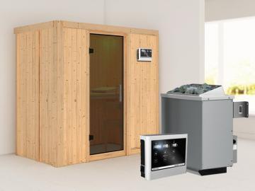 Karibu System Sauna Variado (Fronteinstieg) 68 mm  inkl. Dachkranz und Ofen 9 kW Bio-Kombi ext. Steuerung - mit graphitfarbender Ganzglastür