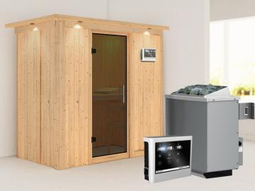 Karibu System Sauna Variado (Fronteinstieg) 68 mm mit Dachkranz inkl. Ofen 9 kW ext. Steuerung - mit graphitfarbender Ganzglastür